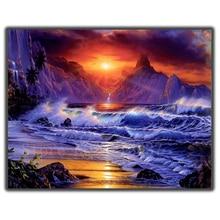 Diamond Mosaic Diy Embroidery Sunset Mountains & The Sea Full Painting Cross Stitch Rhinestone Home Decorations