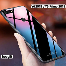 free gift+Glass Case Huawei Y6 Prime 2018 Y6 2018 Case TPU Silicone Bumper Glass Cover for Huawei Y6 Prime 2018 Luxury Case for huawei y6 2019 case silicone soft tpu back cover fundas y6 prime 2019 matte phone bumper case for huawei y6 prime 2019 6 09