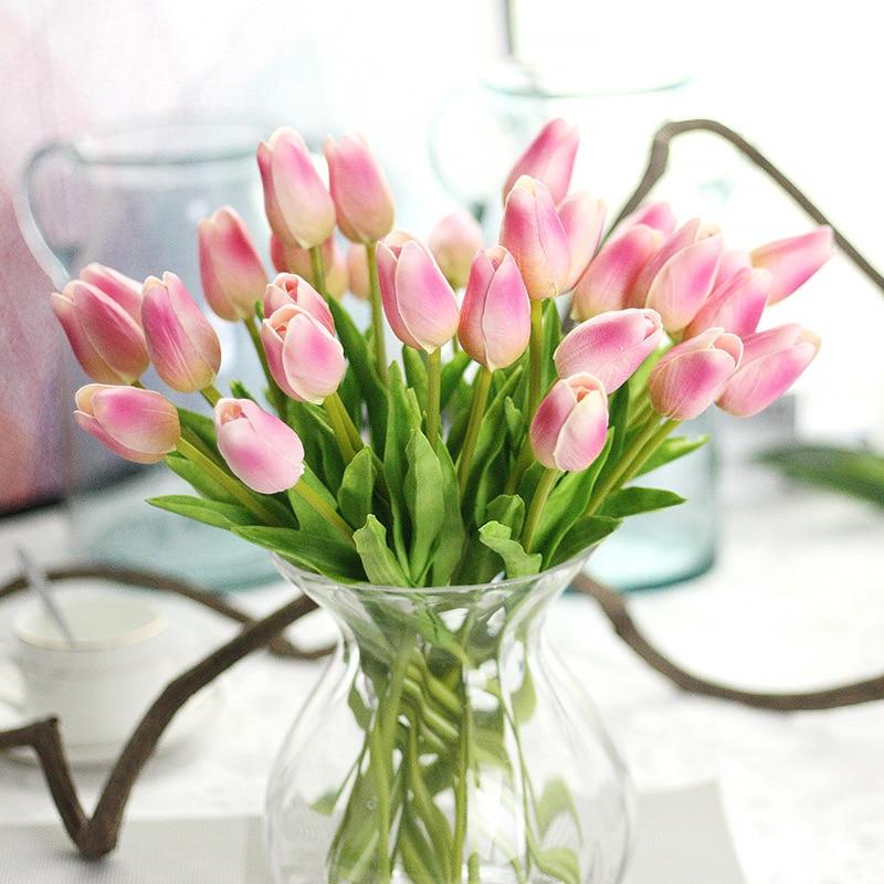 Aliexpress.com : Buy 10pcs New PU Fake Artificial Tulips Flores ...