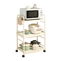 Three tire storage rack for kitchen bathroom living room book microwave coffee machine storage rack white with wheels DQ1217