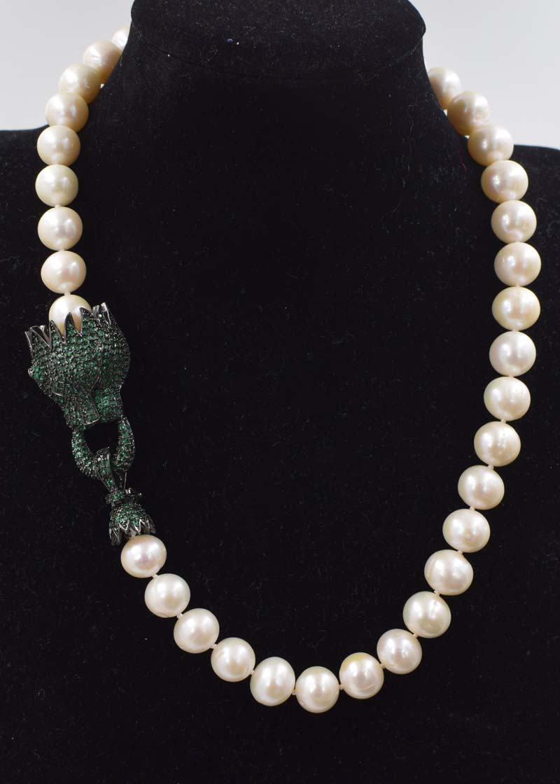 все цены на freshwater pearl white near round 11-12mm leopard clasp necklace 18