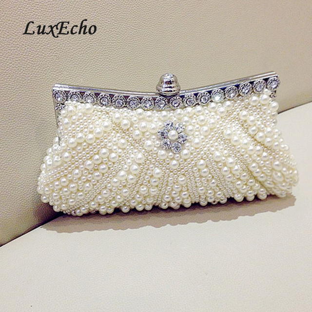 LuxEcho white black ivory pink Pearl bags chain shell day clutch women s  handbag evening bag bridal bag small wedding purse