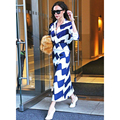Victoria Beckham style fashion suit 2017 early spring women's blue and white long sleeved shirt shirt skirt skirt set XL