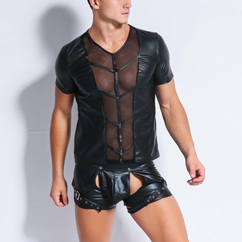 High Quality Men Black Faux Leather Top Erotic Gay Wet Look Front Mesh Hollow Out Sexy Mens Nightclub Latex Catsuit Tops Shirt