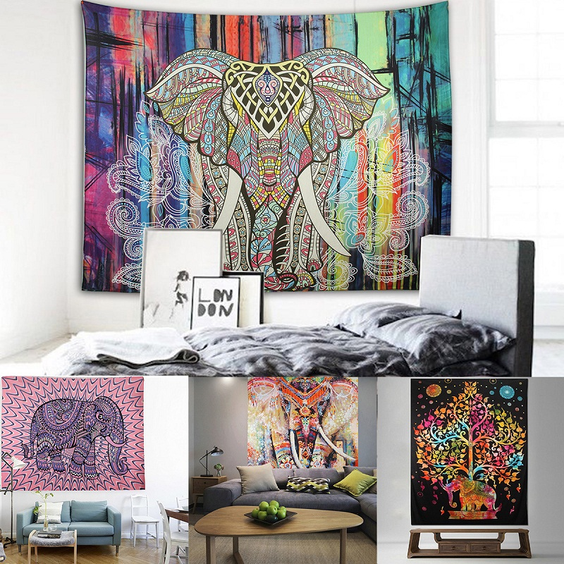 Indian elephant mandala tapestry wall hanging bedspread for Decoration hippie