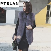 Ptslan 2017 Women's Real Fox Fur Genuine Without Sleeve Long Coat Classic