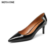 NEMAONE Bacia Full Season Daily Women Shoes Patent Genuine Leather Pumps 6.5cm High Heels Female Office Shoes 34-43 size