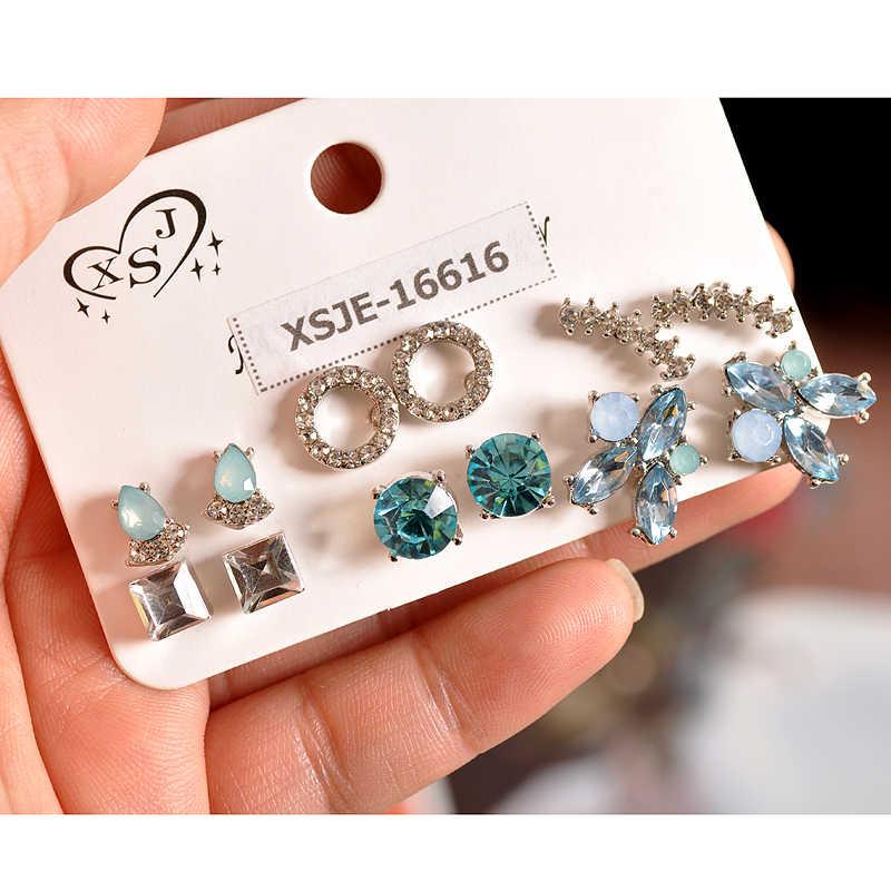 新ファッション女性のアクセサリー女の子パーティー耳スタッド白と青の混合 6 ペア/セットギフト美しいイヤリング剤無料