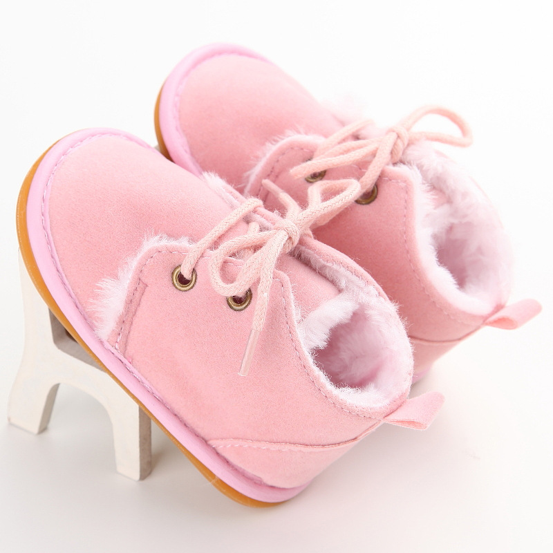 Winter 0-1 years old rubber bottom non-slip men and women baby warm plus velvet baby toddler shoes image