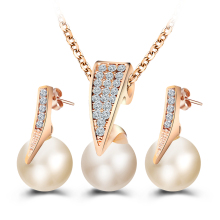 17KM Fashion Imitation Pearl Jewelry Sets Rhinestone Gold Color Necklace Sets for Women Bridal Wedding Water Drop Earrings
