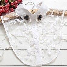Branco decoração lady Camisa de Algodão Fino mulheres camisa de colarinho falso acessórios de Strass Branco contas unhas
