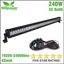 ENVÍO LIBRE 4×4 haz combo 24000lms 42 pulgadas 240 w 4×4 coche luces de conducción de la 12 v offroad led light bar luz de trabajo