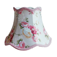 SSimple Pink Lace Desk Lamp Lampshade, Flower Pattern Textile Fabrics Decorative E27 table lamp shade