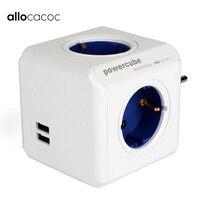 Tüketici Elektroniği'ten Elektrik Fişi'de Allocacoc PowerCube ab adaptör fiş uzatma soketi USB güç şeridi 2 USB bağlantı noktası 4 çıkışlı çoklu anahtarlamalı adaptör akıllı ev