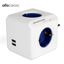 Allocacoc Powercube Eu Adapter Plug Extension Socket Usb Power Strip 2 Usb poorten 4 Outlets Multi Geschakeld Adapter Smart Home