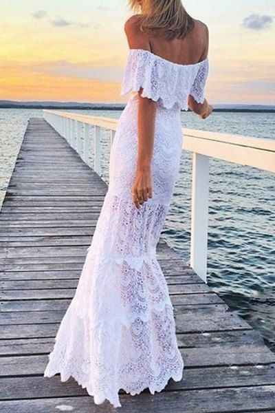 Женские длинные платья 2019 размера плюс пляжное платье-туника Лето 2019 женская одежда белое богемное сексуальное кружевное платье с открытыми плечами Ropa