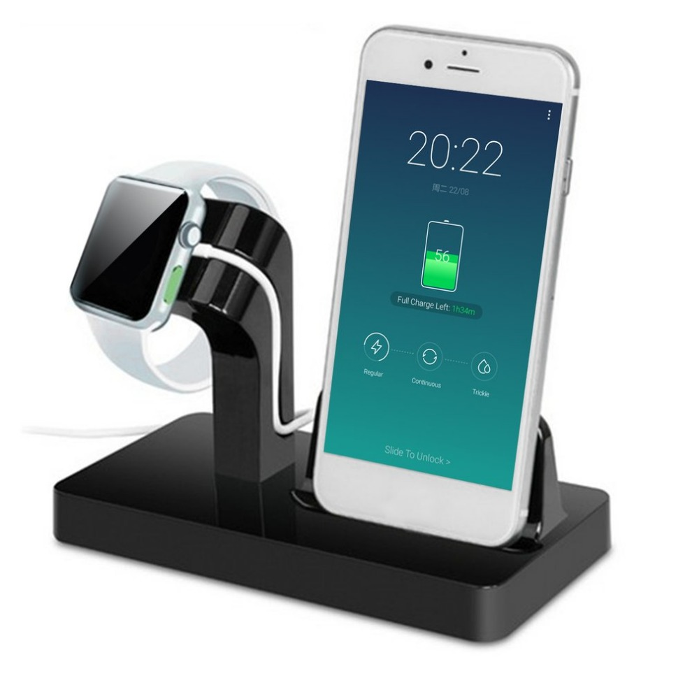 Portable 2 in 1 Charging Dock Desktop Charger Holder For iWatch iPhone x 7 SE Phone Watch Bracket for Apple Series Dock Station