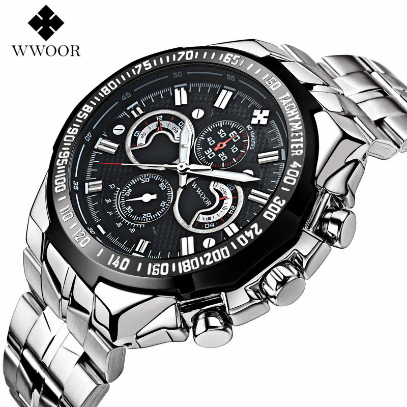 WWOOR Watches Mens Brand Luxury Stainless Steel Quartz Watch Men Casual Waterproof Sport Clock Male Wristwatch Relogio Masculino luxury watch men wwoor top brand stainless steel analog quartz watch casual famous brand mens watches clock relogio masculino