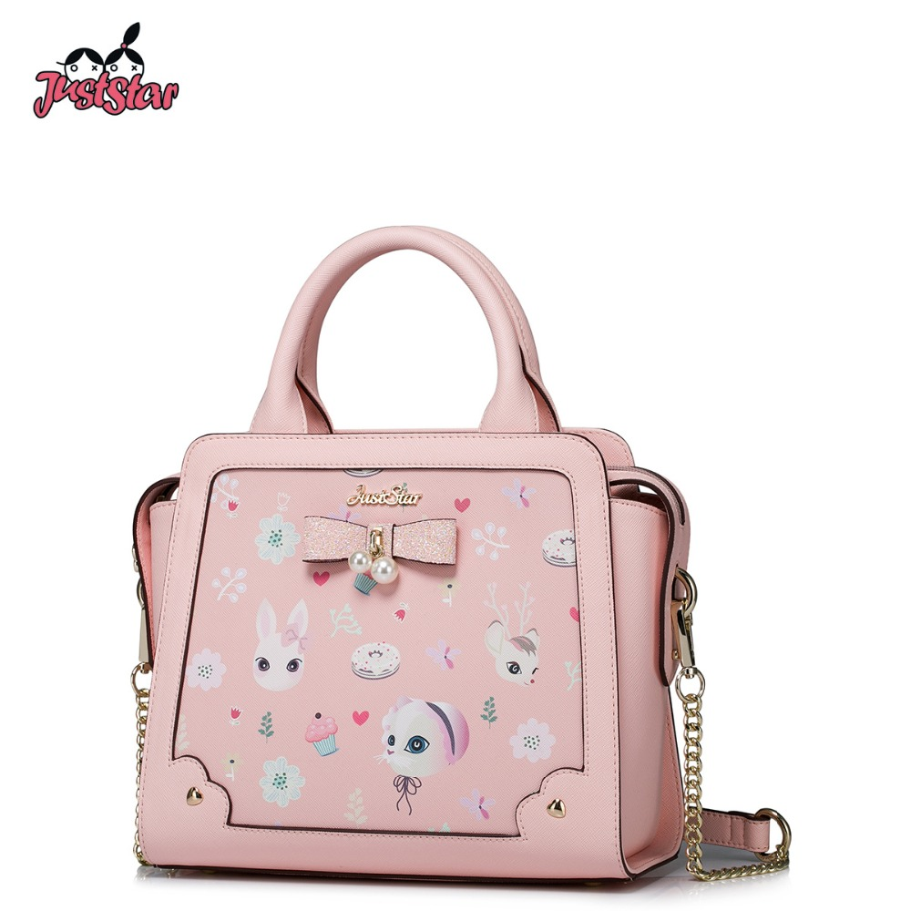 JUST STAR Women PU Leather Handbag Ladies Fashion Wing Chain Bow Tote Shoulder Bag Female Cartoon Printing Messenger Bags JZ4266 genuine leather men bag fashion messenger bags shoulder business men s briefcase casual crossbody handbags man waist bag li 1423