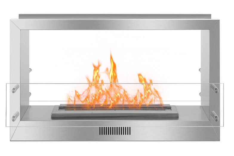 Real Fire Stainless Steel See Through Fireplace