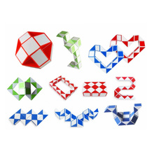 24 pieces mini Magic cube Snake Toy Blocks Ruler Magic Snake Twist Puzzle Hot Selling Random color color random 48 blocks cube children s educational snake ruler cubes spinner puzzle imagination game toy