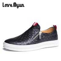 Grande taille 46 47 mode hommes en cuir véritable chaussures slip sur zipper casual chaussures pour jeunes hommes respirant rétro mocassins AE-05