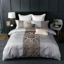 HM Life серебристо-серый роскошный комплект постельного белья из египетского хлопка, королевская кровать, Китайская вышивка, пододеяльник, простыня, Набор наволочек
