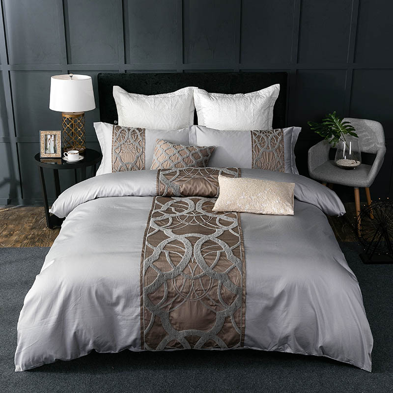 HM Life Silver Grey <font><b>luxury</b></font> <font><b>Egyptian</b></font> <font><b>cotton</b></font> <font><b>bedding</b></font> <font><b>set</b></font> queen king bed Chinese embroidery duvet cover bed sheet <font><b>set</b></font> pillowcase image