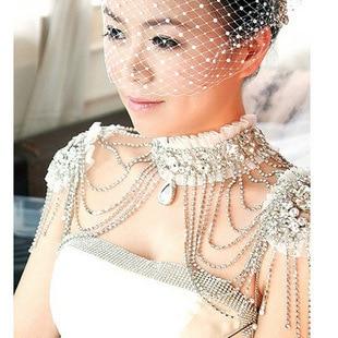 Elegant Rhinestone Crystal Bridal Choker Collar Necklace Pearl Women Pageant Prom Wedding Tassel Shoulder Jewelry Chain Necklace