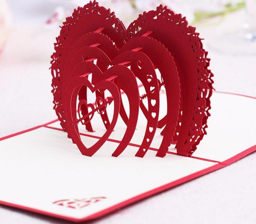 10pcs 3D Red Love Heart Handmade Kirigami Origami Wedding Party ...