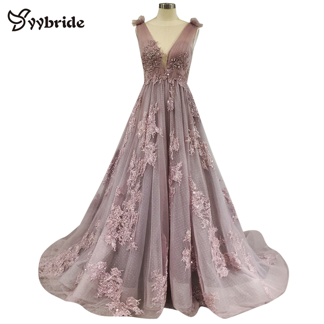 YYbride Lace Beading Boat Neck Sleeveless Party Dresses backless V-neck A-line Prom Dresses Appliques Crystals Evening Dresses