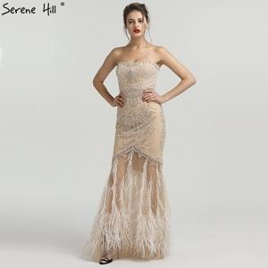 Image 5 - Vestido de noche dorado sin tirantes con plumas de sirena, tul, a la moda, con cuentas de diamantes, 2020 Serene Hill LA6588