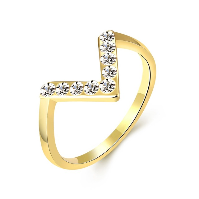 Gold Color Women Ring For women With Letter V Shape Stellux Top Quality White Crystal Wedding Ring Jewelry For Women