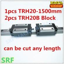 Alta Precisión 1 unids TRH20 Lineal guía 20mm L = 1500mm Linear Rail + 2 unids TRH20B lineal bloque carro para CNC Xyz Axis