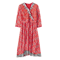 Sales Woman Natural Silk Red Dress Casual Style Woman Mid Calf Length A Line V Neck Flower Print Female Spring Women Dresses XL