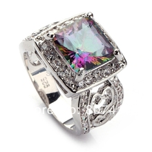 Fleure Esme luxury vintage wedding Charms rings for men and women Pink Rainbow Red Cubic Zirconia Rhodium Plated R371 R744 R617