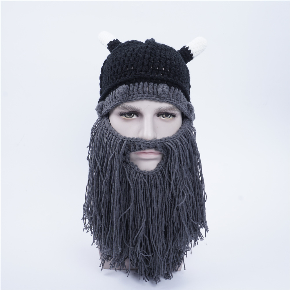 Novel Funny personality Autumn winter knitting Big beard Ox horn cap cosplay hat Viking knight Helmet Creative gifts