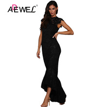 ADEWEL Sexy Black Hollow Out Lace Mermaid Party Long Dress Women Elegant Sleeveless Lace Evening Gown Bodycon Maxi Dresses clocolor elegant long dress women white lace slash neck mermaid dresses sexy hollow lace up bodycon party maxi dresses vestidos