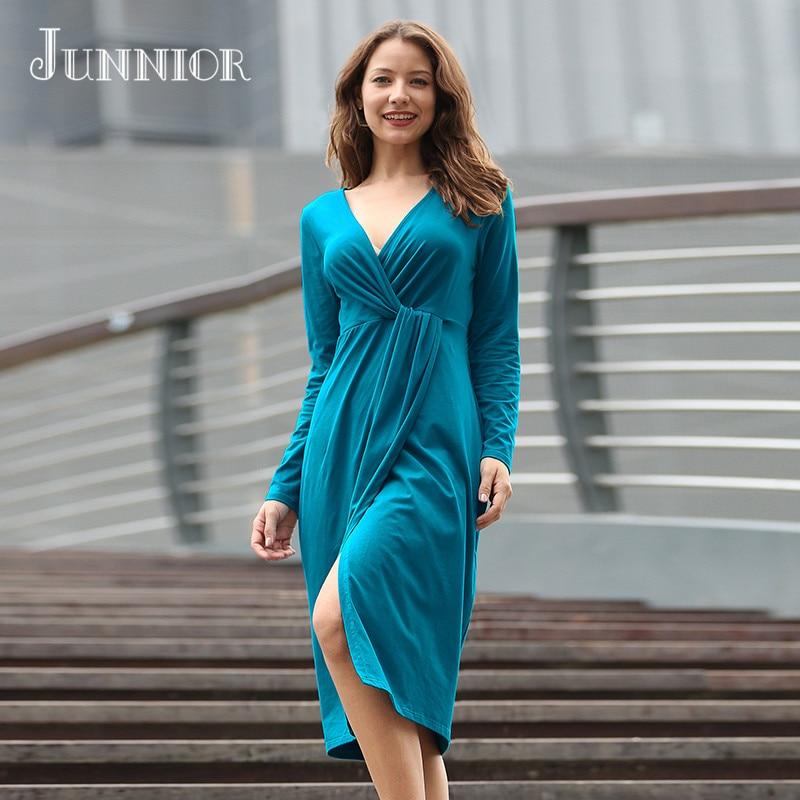 JUNNIOR 2018 Women Summer V-Neck Long Boho Solid color Beach Dress Evening Party Dress