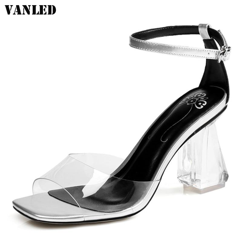 VANLED Transparent Open Toed Women Sandals 2017 Crystal Summer Sandals Square Head Ladies Girl Sandals Square