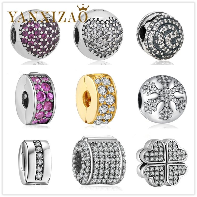 Yanxizao 2018 חדש כסף 925 אירופי CZ קסם חרוזים Fitora סגנון הלב שלג זירקון צורה DIY תכשיטים יוקרה X10