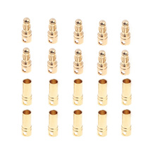 10 Pairs 3.5mm Copper Bullet Banana Plug Connectors Male + Female for RC Motor ESC Battery Part