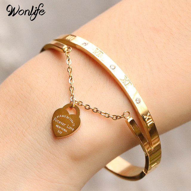 titanium bracelets heart steel hanging item forever bangle bracelet brand design pulseira label jewellery luxury for love women