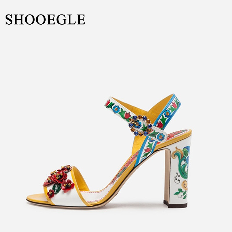 New Luxury Floral Print Sandals Women Colorful Applique Heels Sexy Open Toe Chunky Heel Summer Shoes
