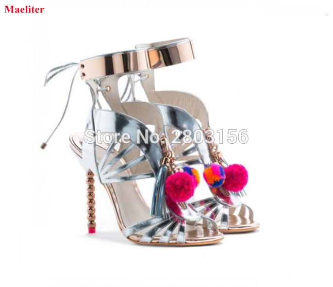 Newest cut outs silver pom pom high heel shoes gladiator sandals women ankle strap stiletto heels summer woman sandals shoes phyanic 2017 gladiator sandals gold silver shoes woman summer platform wedges glitters creepers casual women shoes phy3323