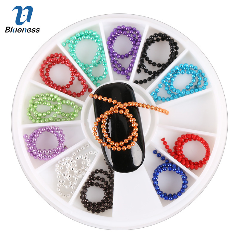 12 Colors Metal Beads Chain 3D Nail Art Tips Decorations Crystal Glitter Wheel Rhinestones & Decorations For Nails ZP003 чернильный картридж hp 932xl cn053ae black