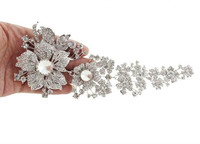 7 5 Inch Large Vintage Silver Plated Clear Rhinestone Crystal Bridal Brooches And Pins Women Party