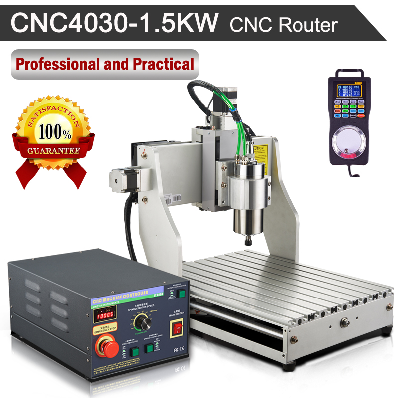 1500W Router Engraver Machine Water-cooled Spindle Motor 4030 Mach3 Controller + Wireless Pendant Handy Pulser CNC Kit 1 5kw spindle er16 water cooled spindle motor wood working precision 0 01mm 4 barings water cooling