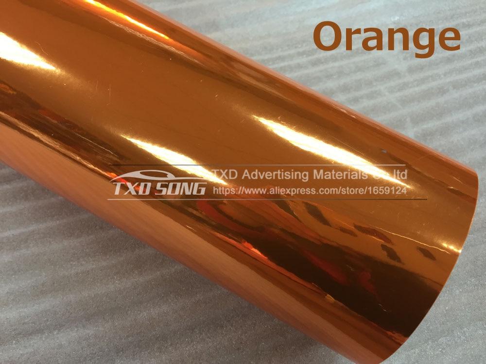 Новейшая Высокая растягивающаяся Водонепроницаемая УФ-защита красная хромированная зеркальная виниловая пленка рулонная пленка для автомобиля Наклейка Лист - Название цвета: ORANGE