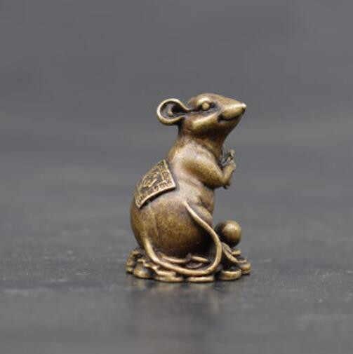Mouse Rato Sorte Bronze Estátua Estatueta Ornamento Mini Chaveiro Pingente Presente De Natal
